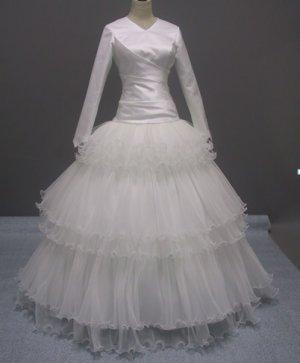Free shipping long sleeve and high neckline wedding dress ER35