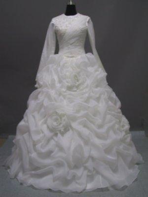 Free shipping long sleeve and high neckline wedding dress ER41
