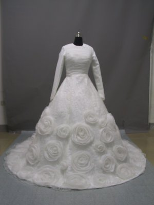 Free shipping long sleeve and high neckline wedding dress ER43