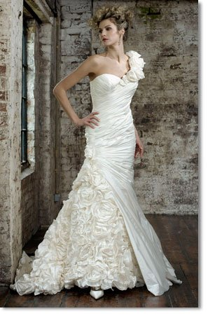 Free shipping fashion taffeta one shoulder wedding dress 2011 EC161