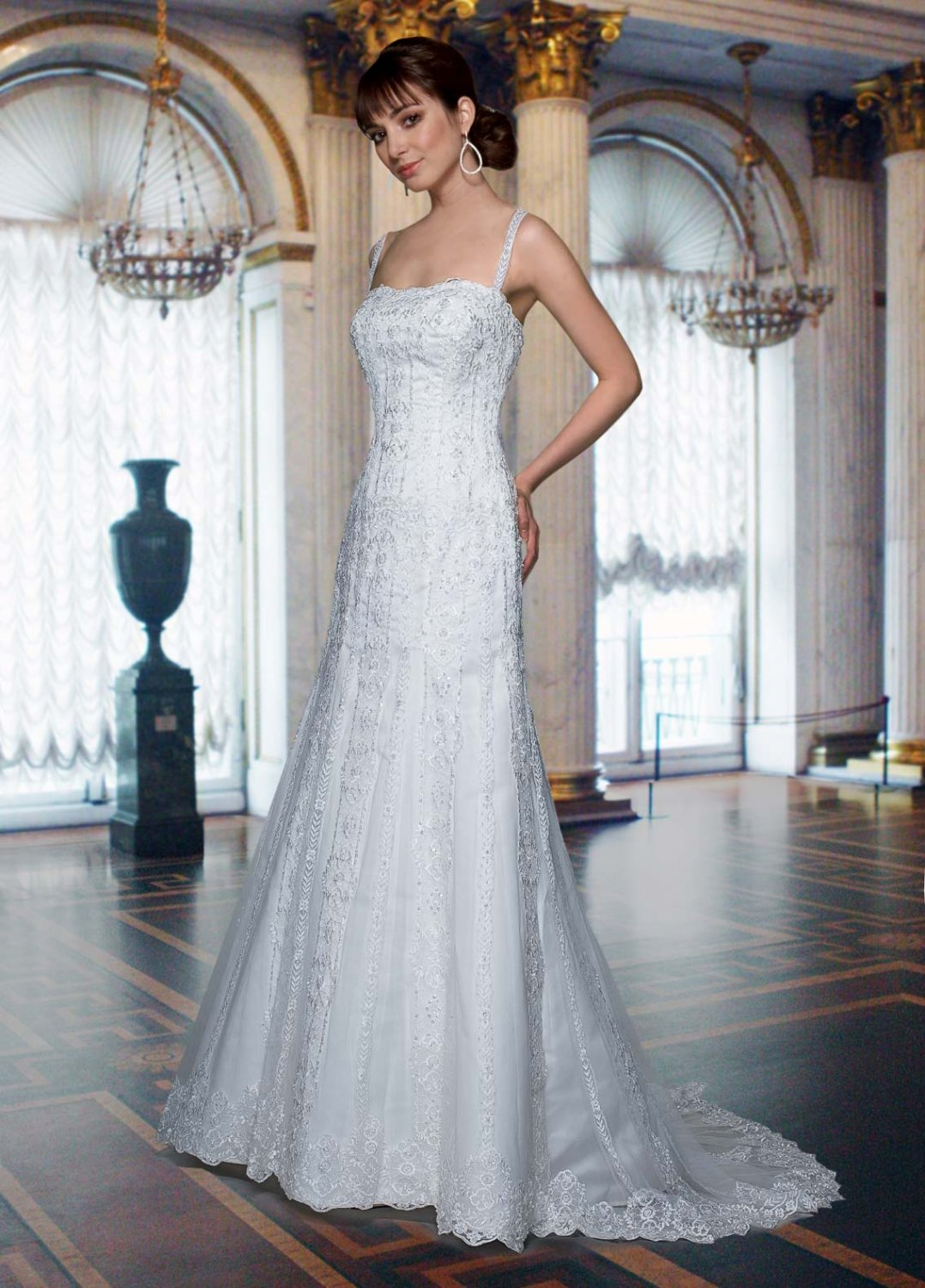 Free shipping the most popular lace wedding dress EC335