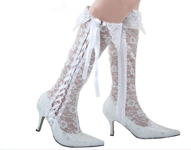 swarovski crystals and lace wedding shoes S026
