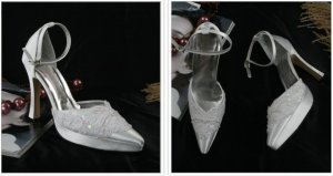 swarovski crystals and lace wedding shoes S027