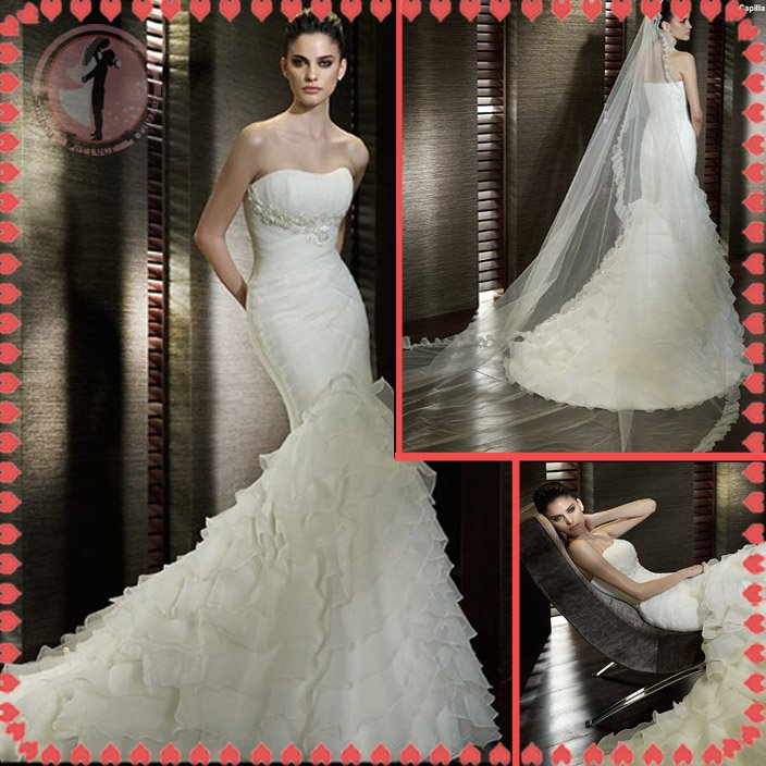 Free shipping the most popular one shoulder wedding dress 2012 EC385