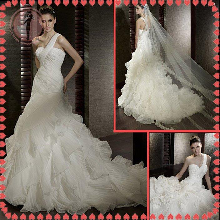 Free shipping maggie sottero one shoulder 2012 wedding dress EC390