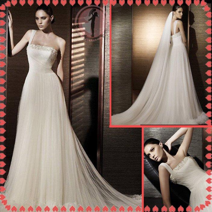 Free shipping one shoulder rhinestone 2012 bridal wedding dress EC393