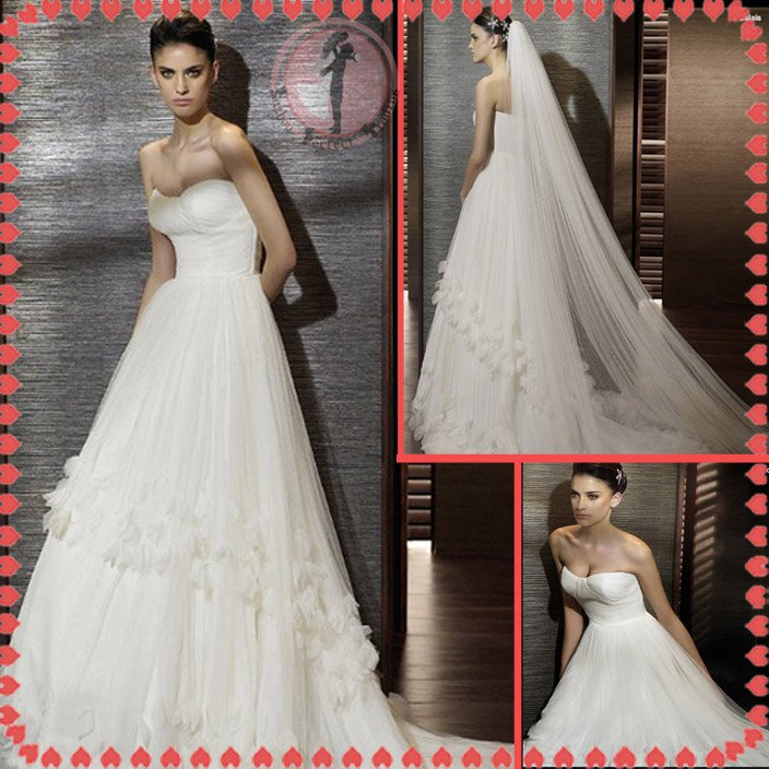 Free shipping flower 2012 bridal wedding dress EC395
