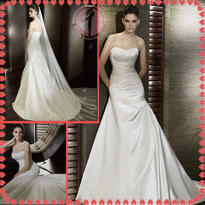 2012 bridal silver satin wedding dress EC398