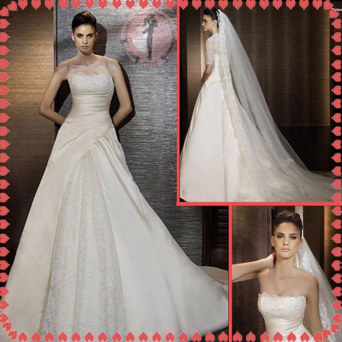 2012 new style off shoulder lace silver satin wedding dress EC401