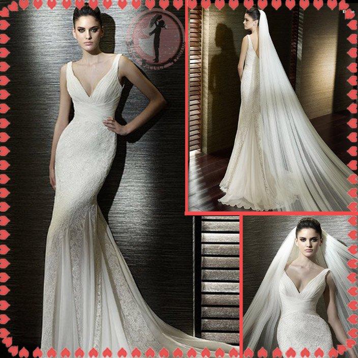 2012 new style off shoulder lace silver satin wedding dress EC403