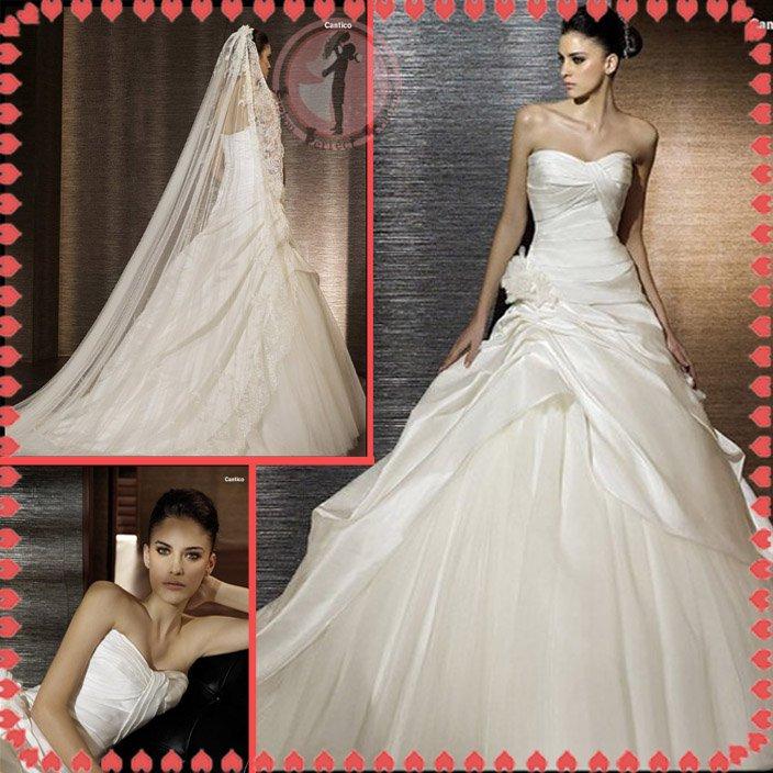 2012 new style silver satin wedding dress EC404