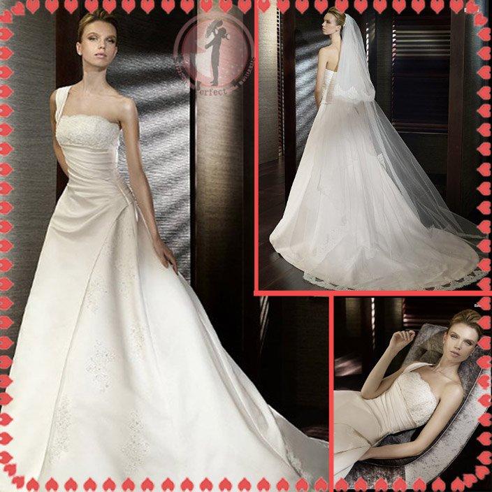 2012 new style one shoulder silver satin wedding dress EC408