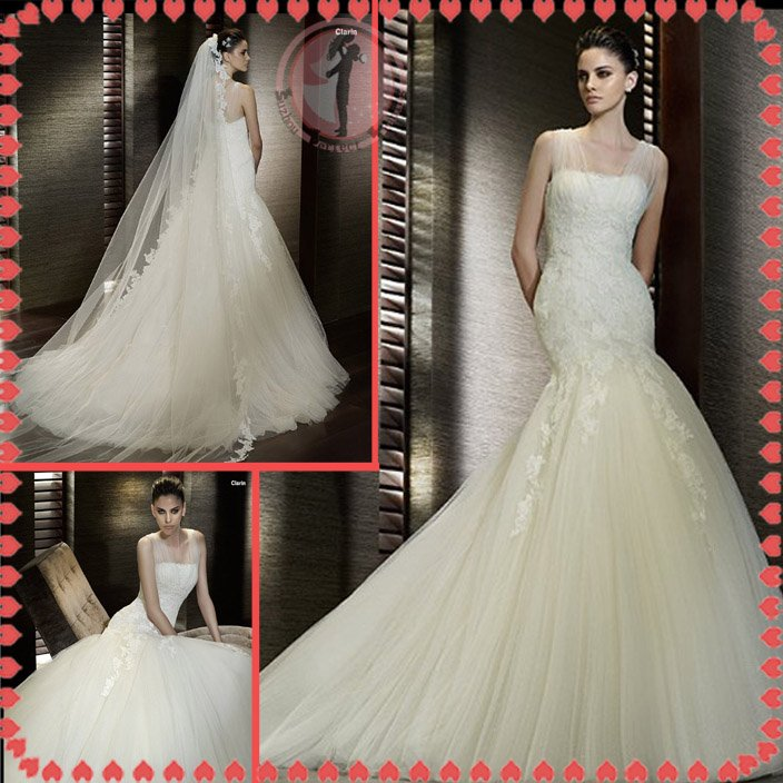 2012 new style off shoulder shoulder silver satin lace wedding dress EC409
