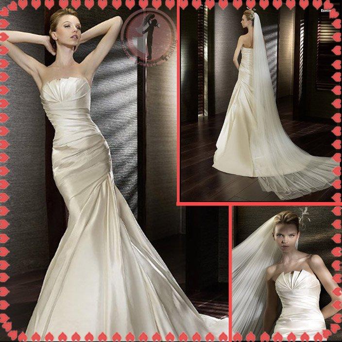 2012 new style silver satin wedding dress EC410