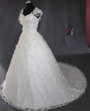 2013 new fashion stylish capsleeve lace swarovski wedding dress EC462