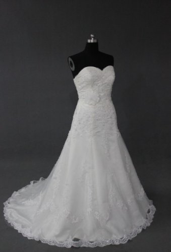 EC480 new fashion stylish strapless lace wedding dress 2013