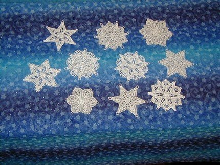 Set of 10 Lace Snowflake Ornaments