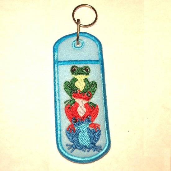 Embroidered Stacked Frog Lip Balm or Lighter Holder Key Chain