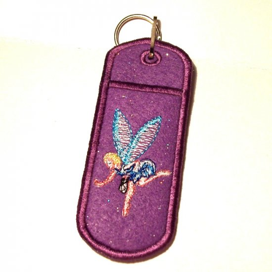 Embroidered Fairy Lip Balm or Lighter Holder Key Chain