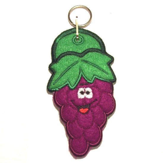 Embroidered Smiley Grapes Lipbalm, Lifesavers or USB Drive Holder Keychain