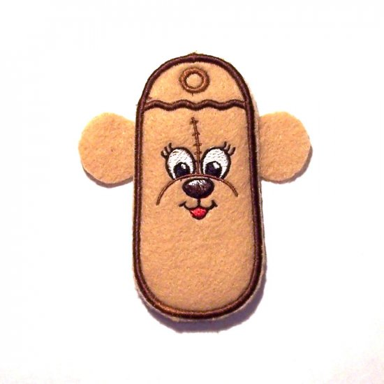 Embroidered Bear Lip balm, chapstick, lighter, usb or breath mint holder keychain or zipper pull