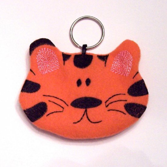 Embroidered Tiger Coin Pouch Keychain