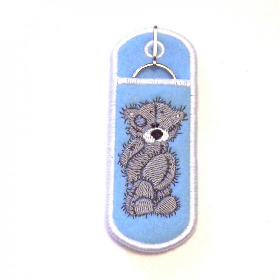 Embroidered Scruffy Bear Lipbalm, USB or lighter holder keychain.
