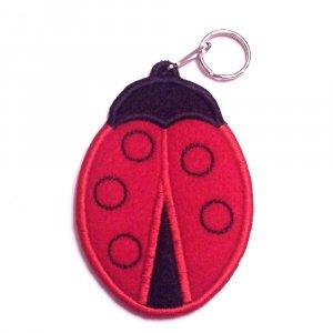 Embroidered Ladybug keychain - lip balm, USB, lighter holder
