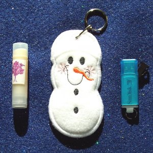 Embroidered Snowman Lipbalm, USB Drive, or Lighter Holder Keychain or Backpack clip