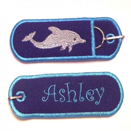 Double sided Embroidered USB, Lip Balm, Chapstick, or Lighter Holder Keychain