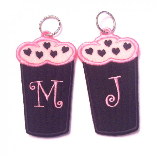 Monogrammed Initial Embroidered Cupcake USB, Lip Balm, Chapstick or lighter holder key chain