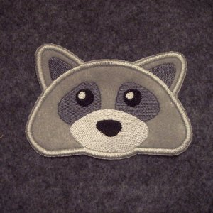 Embroidered Raccoon Face Sew on Patch
