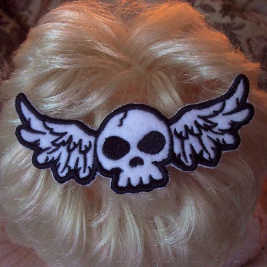 Winged Skull Embroidered Barrette