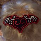 Winged Heart Embroidered Barrette