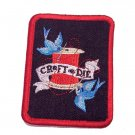 Craft or Die Denim Iron On Embroidered Patch