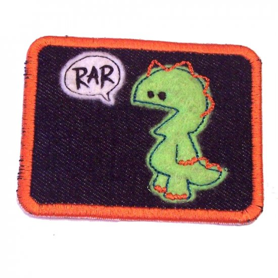 Roaring Monster Embroidered Denim Iron on Patch