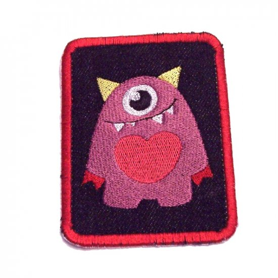 Mono Monster Embroidered Denim Iron on Patch