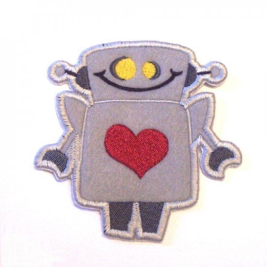 Embroidered Robot Iron On Patch