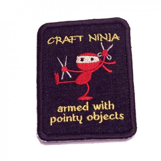 Beware the Craft Ninja Embroidered Denim Iron on Patch