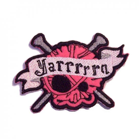 Yarrrrrn Embroidered Skull and Crossed Needles Iron on Patch