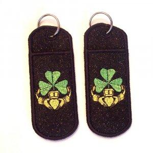 Irish claddagh chapstick/lip balm/USB holder keychain