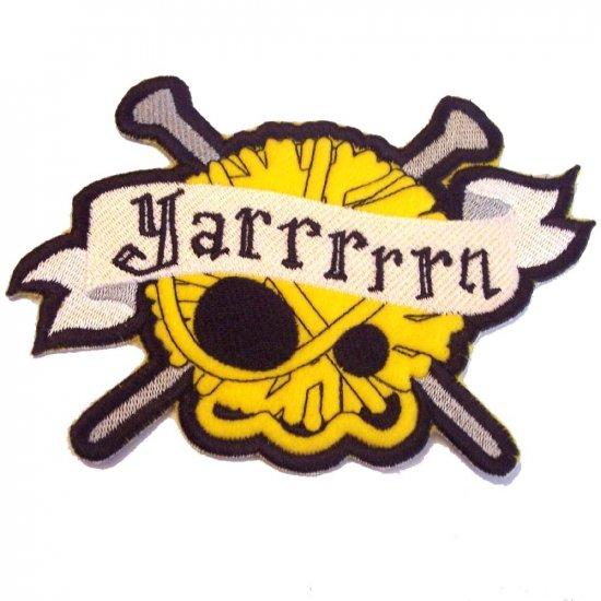LARGE Yarrrrrn Embroidered Skull and Crossed Needles Iron on Patch