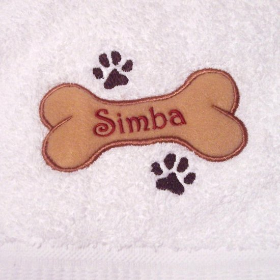 Small Personalized Embroidered Dog Bath Towel