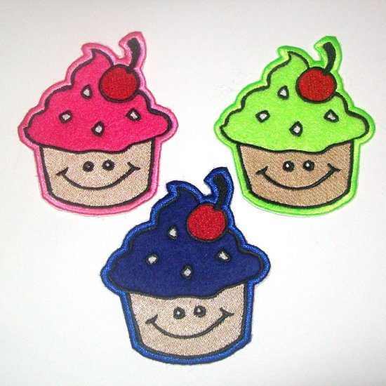 Cheerful Cupcake Iron on Patch
