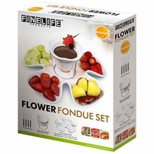 FineLife Porcelain Flower Fondue Set