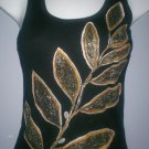 Black/Gold Leaf Design Tank Top