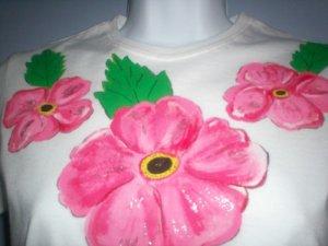 White Hibiscus Design Hand Painted T Shirt