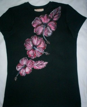 Black T Shirt with Hand painted Hibiscus Flowers