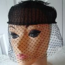 Vintage  Black Straw/Netting Caged Women Hat S