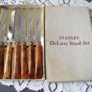 Vintage Bakelite Caramel Swilr 6 Steak Knives Box GH